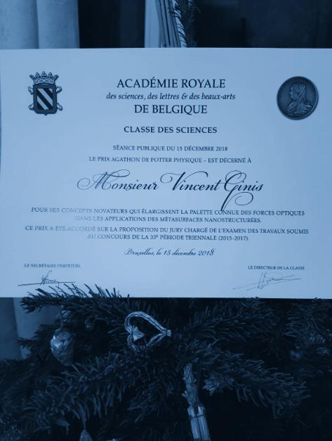 Prix Agathon De Potter – Physique